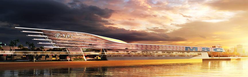Msc crociere nuovo terminal Miami rendering PortMiami